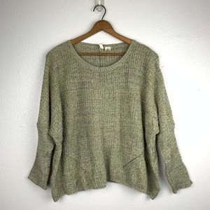 Anthro Moth Green Chunky 3/4 Sleeve Sweater S